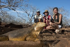 Models With Land Iguana