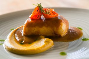 Grilled Paiche with Chorizo Sauce and Snake Fruit Puree