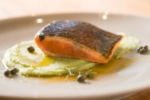 Pan Seared Trout with Capers Butter and Mashed Fava Beans
