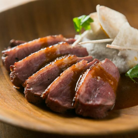 Seared duck Breast with Achiote Sauce and Taro Root